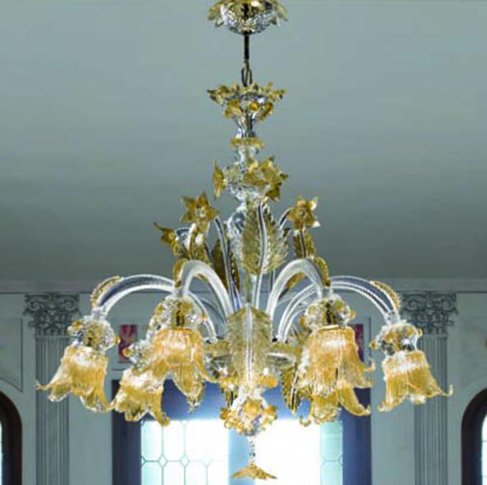 Lampadario in vetro Murano color oro, vendita vetro di ...